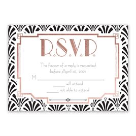 Radiant Art Deco - Rose Gold - Foil Response Card