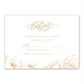 White Roses - Gold - Foil Response Card