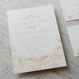 White Roses - Gold - Foil Invitation