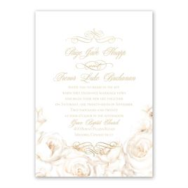 White Roses Foil Invitation