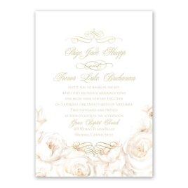White Roses Foil Invitation