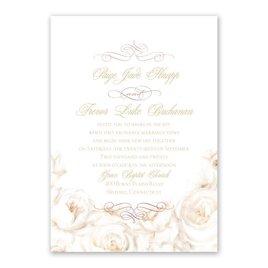 White Roses - Rose Gold - Foil Invitation