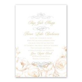 White Roses - Silver - Foil Invitation