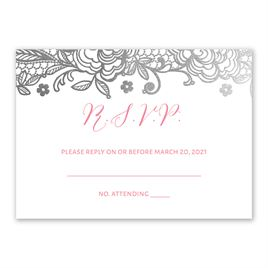 Glamorous Lace - Silver - Foil Response Card