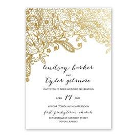 Glamorous Lace - Gold - Foil Invitation
