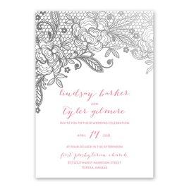 Glamorous Lace - Silver - Foil Invitation