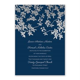Woodland Branches - Silver - Foil Invitation