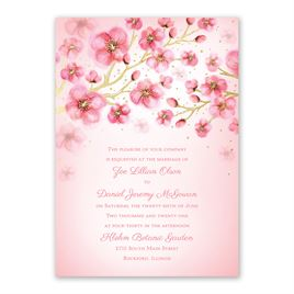 Cherry Blossoms - Gold - Foil Invitation