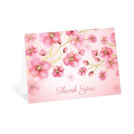 Cherry Blossoms - Gold - Foil Thank You Card