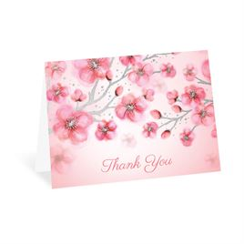 Cherry Blossoms - Silver - Foil Thank You Card