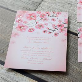 Cherry Blossoms - Silver - Foil Invitation