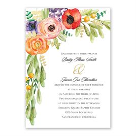Wildflower Burst - Gold - Foil Invitation