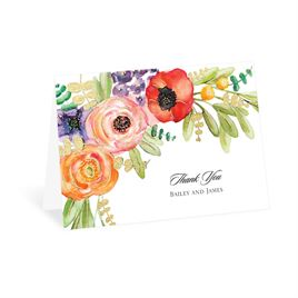 Wildflower Burst - Gold - Foil Thank You Card
