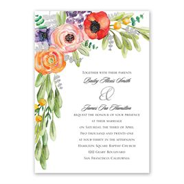 Wildflower Burst - Silver - Foil Invitation