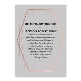 Mid-Century Metallic - Rose Gold - Foil Invitation