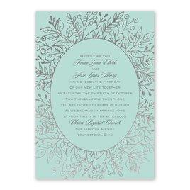 Foliage Frame - Silver - Foil Invitation