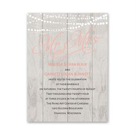 Elegant Shabby Chic Wedding Invitations: Rustic Lights Petite Invitation