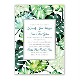 Brilliant Palms - Silver -  Foil Invitation