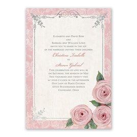 Victorian Rose - Silver -  Foil Invitation
