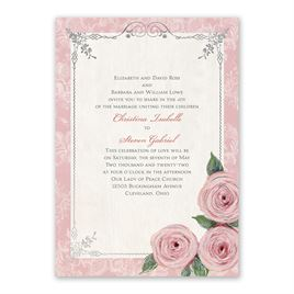 Victorian Rose - Silver -  Foil Invitation