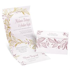 Swept Away - Gold - Foil Seal and Send Invitation