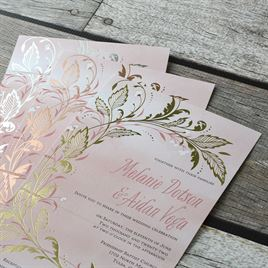 Swept Away - Rose Gold - Foil Seal and Send Invitation