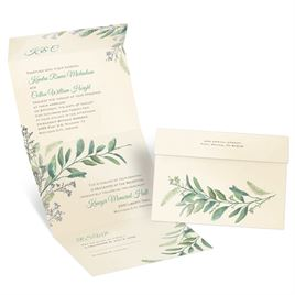 Natural Whimsy - Silver - Foil Seal and Send Invitation