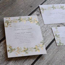 Weaved Ivy - Gold - Foil Invitation