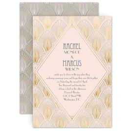 Art Deco Wedding Invitations: Blushed Vintage Invitation