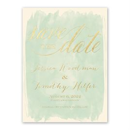 Watercolor Wisp - Ecru - Foil Save the Date Card