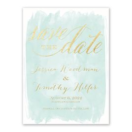 Watercolor Wisp - White - Foil Save the Date Card