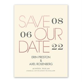 Mixed Message - Ecru - Foil Save the Date Card