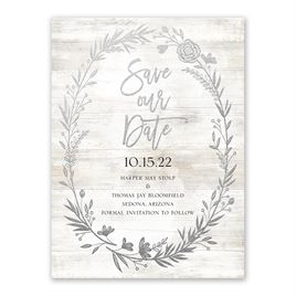 Farmhouse Frame - Silver - Foil Save the Date Card