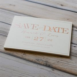 Our Love - Ecru - Foil Save the Date Card