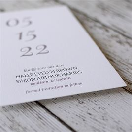 All Lined Up - Letterpress Save the Date Card