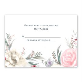Pale Roses - Rose Gold - Foil Response Card and Envelope