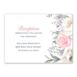 Pale Roses - Silver - Foil Reception Card