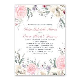 Pale Roses - Silver - Foil Invitation