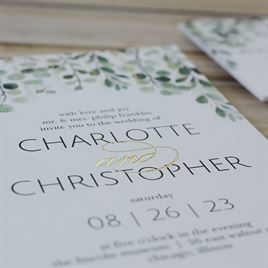 Sparkling Greenery - Gold - Foil Invitation