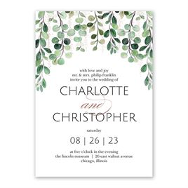 Sparkling Greenery - Rose Gold - Foil Invitation