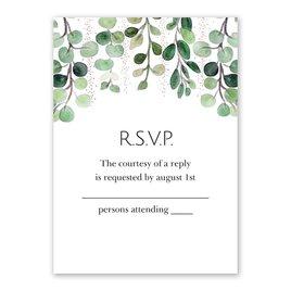 Sparkling Greenery - Rose Gold - Foil Response Card