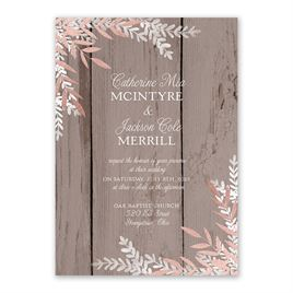 Shimmering Branches - Rose Gold - Foil Invitation
