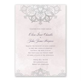 Mandala Bloom - Silver - Foil Invitation