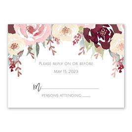 Blooms in Burgundy - Rose Gold - Foil Response Card