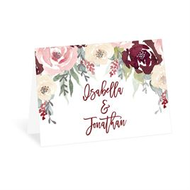 Blooms in Burgundy - Silver - Foil Thank You Card