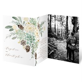 Winter in Bloom - Gold - Foil Trifold Invitation