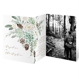Winter in Bloom - Silver - Foil Trifold Invitation