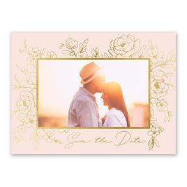 Shine in Floral - Gold - Foil Save the Date Card