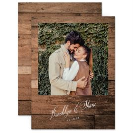 Save The Dates: Woodgrain Frame Save the Date Card