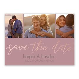 Calligraphy Glow - Rose Gold - Foil Save the Date Card